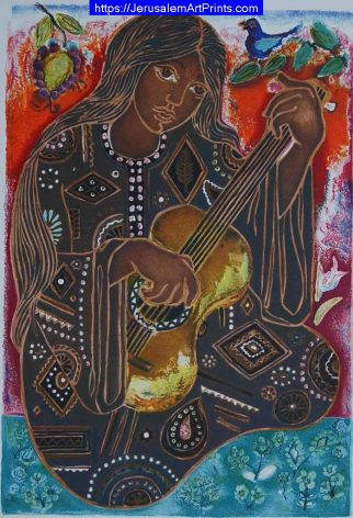 Girl and Guitar by Irene Awret