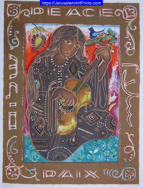 Girl and Guitar with peace by Irene Awret
