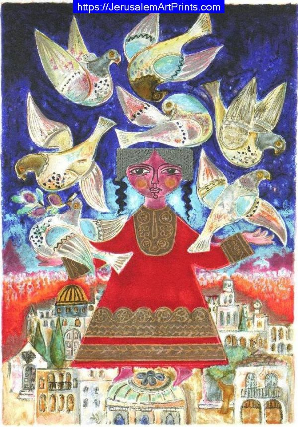 Irene Awret Seven Doves Over Jerusalem