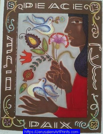 Women With Doves and Flowers with Peace By Irene Arwet